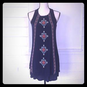 5/$20 Xhilaration S Blue Embroidered Shift Dress